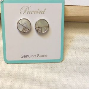Puccini | Round Genuine Stone Earrings